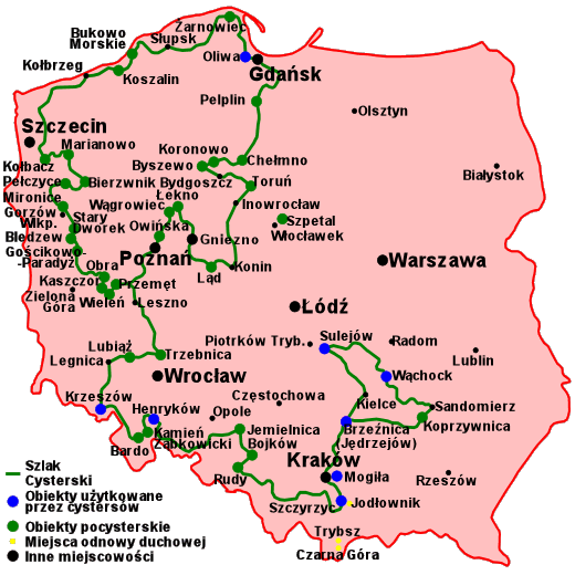 Szlak Cysterski na mapie Polski